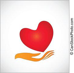 mãos, proteja, coração, logotipo, conceito