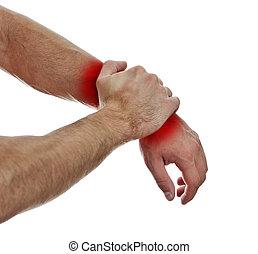 mãos, pulso, macho, cima, pain., isolado, vista, white., fim
