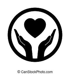 mãos, que, proteja, coração