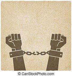 mãos, quebrada, chains., liberdade, conceito, antigas, fundo