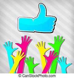 """mãos, símbolo, """"like"""", feliz, tirado, fundo"""