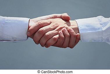 mãos sacudindo, escritório, pessoas negócio