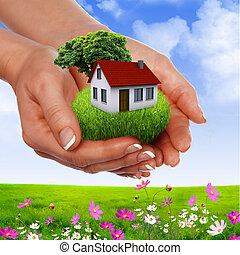 mãos, segurando, casa