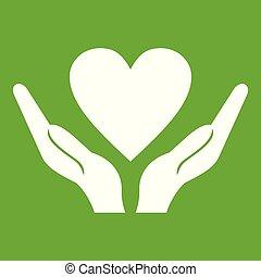 mãos, segurando, coração, ícone, verde