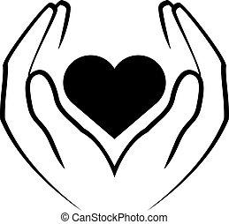mãos, segurando, coração