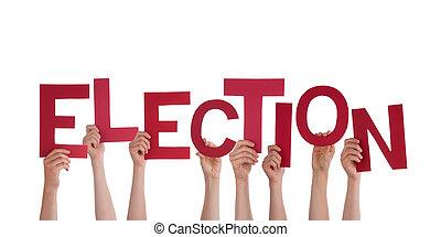 mãos, segurando, eleição