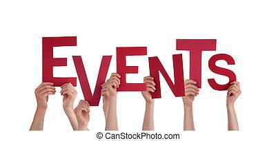 mãos, segurando, eventos