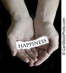 mãos, segurando, felicidade, palavra, sinal, papel