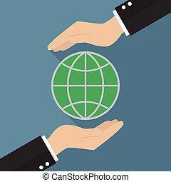 mãos, segurando, globo