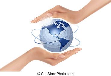 mãos, segurando, globo, vetorial