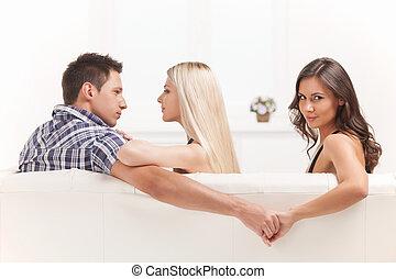mãos, segurando, homens, amor, triangle., mulheres, jovem, ...