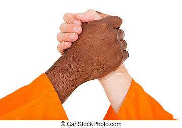mãos, segurando, homens, multiracial