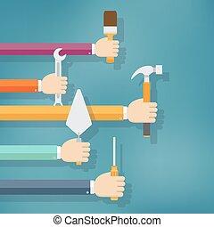 mãos, segurando, housework, e, reparar, tools.