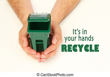 mãos, segurando, lixo pode, abertos
