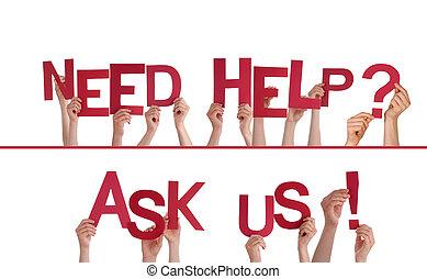 mãos, segurando, necessidade, ajuda, perguntar, nós