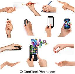 mãos, segurando, negócio, diferente, objects., ilustração, ...