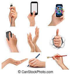 mãos, segurando, negócio, diferente, objects., jogo, vetorial
