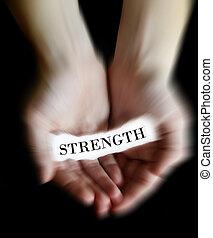 mãos, segurando papel, mensagem, força