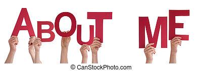 mãos, segurando, pessoas, aproximadamente, vermelho, mim, ...
