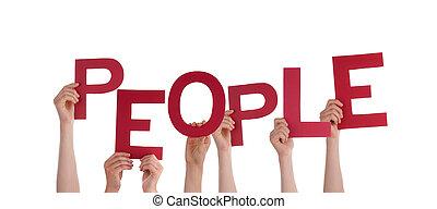 mãos, segurando, pessoas
