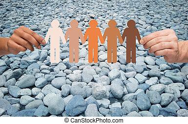 mãos, segurando, pessoas, pictograma, sobre, pedra, deserto