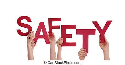 mãos, segurando, segurança