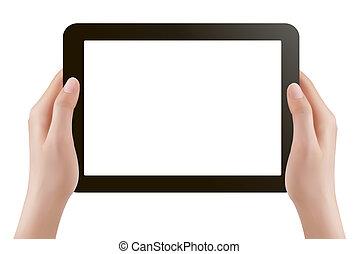 mãos, segurando, tablete digital, pc., ve