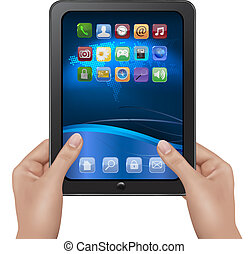 mãos, segurando, tabuleta, digital