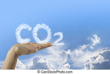 mãos, seu, emissões, co2