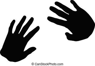 mãos, silhouete, vetorial