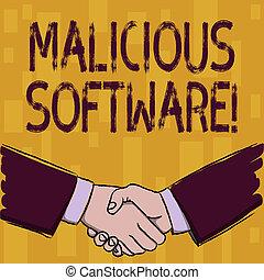 mãos, software., software, negócio, forma, agreement., foto...