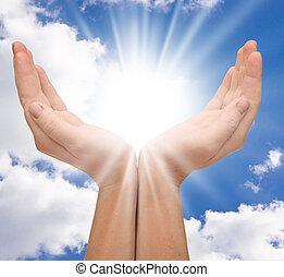 mãos, sol, copyspace
