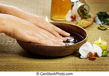 mãos, spa