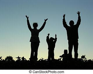 mãos, sundown, família, cima