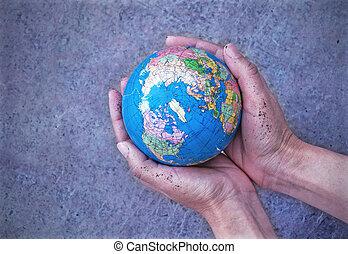mãos, terra