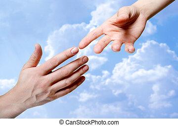 mãos, tocar