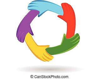 mãos, trabalho equipe, logotipo, identidade, unidade