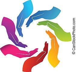mãos, trabalho equipe, logotipo
