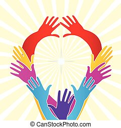 mãos, unidade, pessoas, logotipo