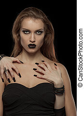 mãos, vampiro, dela, mulher, dia das bruxas, body., gótico