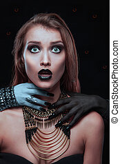 mãos, vampiro, dela, mulher, pescoço, gótico, bonito