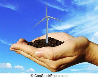 mãos, vento, eolic, turbina, conceito