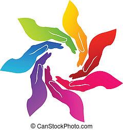 mãos, voluntário, logotipo