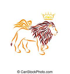 mächtig, guten, geflügelter löwe, und, krone, mit, a, vogel