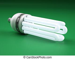 mächtig, kompakt, fluoreszierend, lightbulb