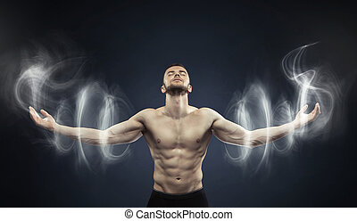 mächtig, meditierender mann, in, friedlich, ort