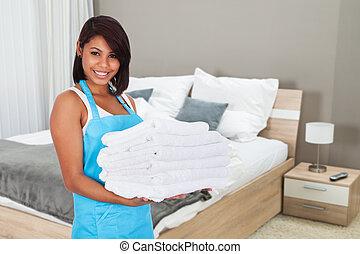mädchen, lächelnde frau, handtücher