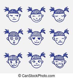 mädchens, gekritzel, set., emoticons, gefuehle, hand, vektor, skizze, gezeichnet, kopf