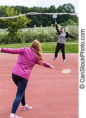 mädels, badminton, junger, spielende