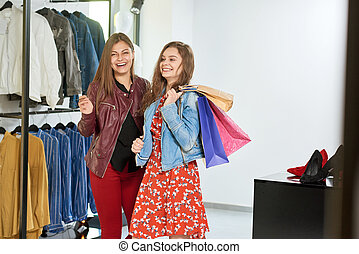 mädels, gehen, auf, shoppen, zu, der, mall.